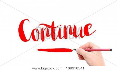 The verb continue written on a white background