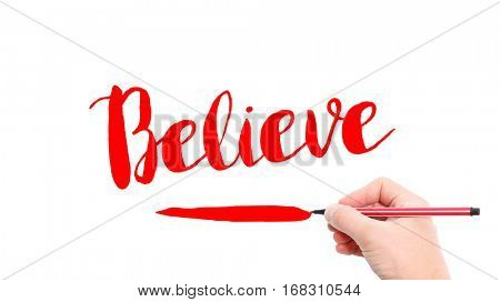 The verb believe written on a white background