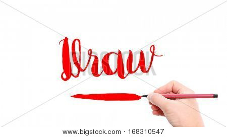 The verb Draw written on a white background