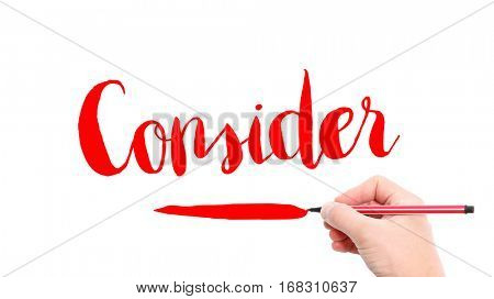 The verb Consider written on a white background