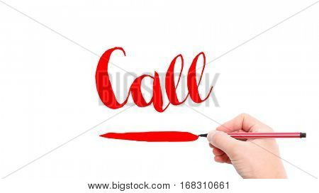 The verb call written on a white background