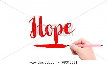 The verb Hope written on a white background