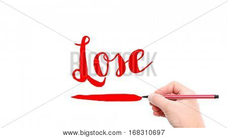 The verb lose written on a white background