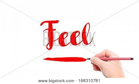 The verb feel written on a white background