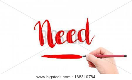 The verb need written on a white background