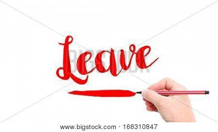 The verb leave written on a white background