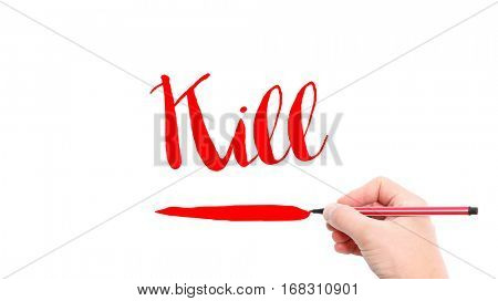 The verb Kill written on a white background