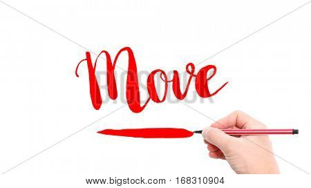 The verb move written on a white background