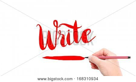 The verb write written on a white background
