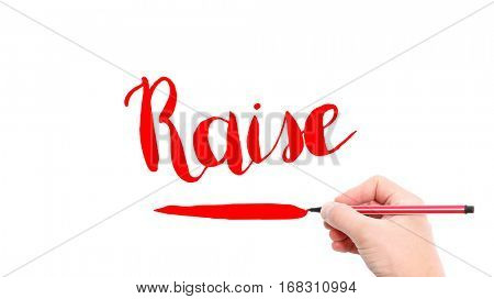 The verb Raise written on a white background