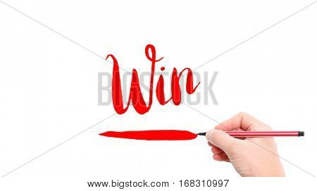 The verb Win written on a white background