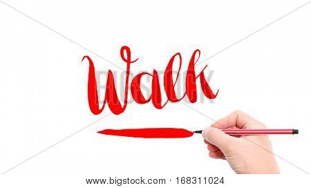 The verb Walk written on a white background