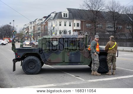 WASHINGTON DC - JANUARY 20: M1165 HMMWV Expanded Capacity Command General Purpose Vehicle Vehicle parked for Inauguration of Donald Trump. Taken January 20 2017 in District of Columbia.