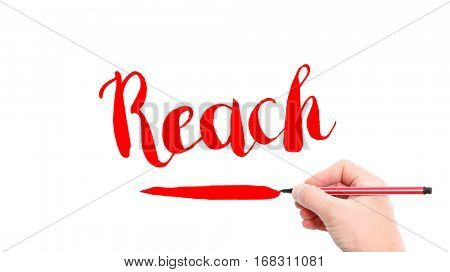 The verb Reach written on a white background