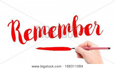 The verb Remember written on a white background