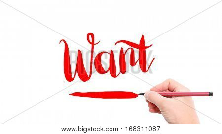 The verb want written on a white background