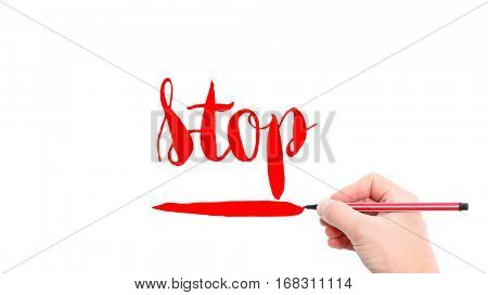 The verb Stop written on a white background