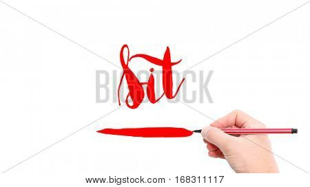 The verb sit written on a white background