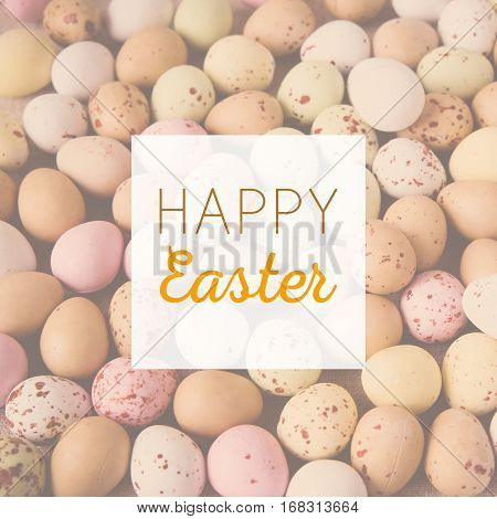 Happy Easter On Pastel Speckled Eggs, Toning