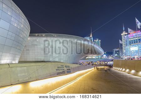 MYEONG-DONG SEOUL KOREA: APRIL 12016: Dongdaemun Design Plaza (DDP) at night Seoul South Korea