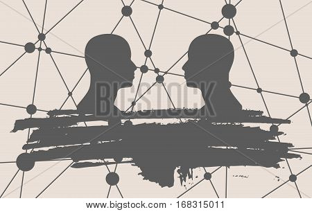 Human Communication Background. Brochure or web banner template. Connected circles with dots. Two man silhouettes looking at each other. Grunge brush stroke. Abstract business meeting. Social network
