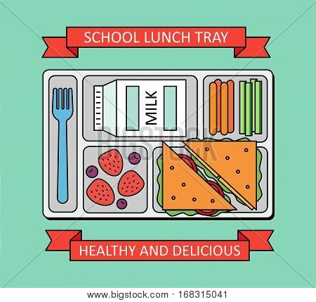 Poster in a line style. School lunch with a sandwich, fresh berries, vegetables and milk. Vector illustration.