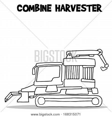 Combine harvester transport hand draw vector illustration