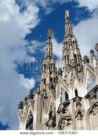 the roof of the Duomo di Milano, cathedral in Milan, ITALY.
