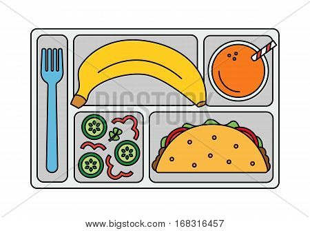 School lunch with tacos, vegetable salad, banana and a glass of orange juice. Line style. Vector illustration.