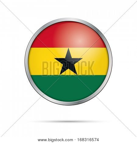 Vector Ghanaian flag button. Ghana flag glass button style with metal frame.