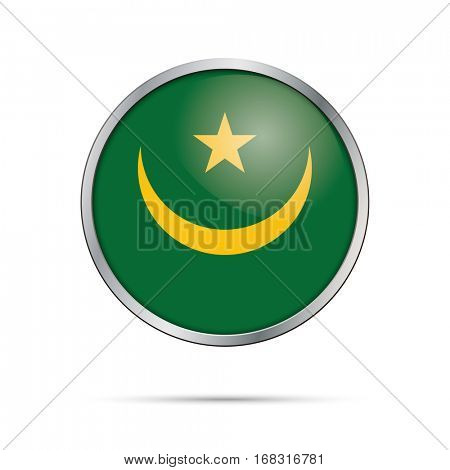Vector Mauritanian flag button. Mauritania flag glass button style with metal frame.