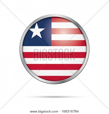 Vector Liberian flag button. Liberia flag glass button style with metal frame.