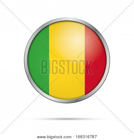 Vector Malian flag button. Mali flag glass button style with metal frame.