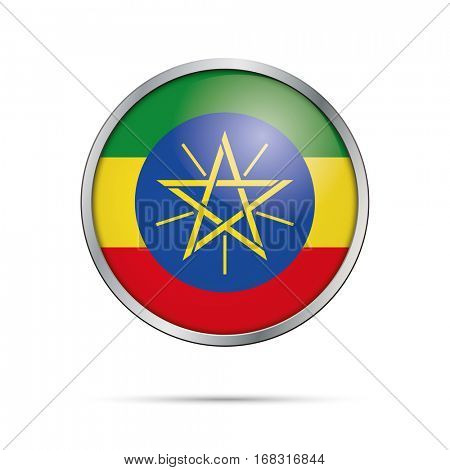 Vector Ethiopian flag button. Ethiopia flag glass button style with metal frame.