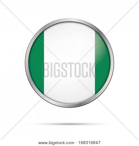 Vector Nigerian flag button. Nigeria flag glass button style with metal frame.