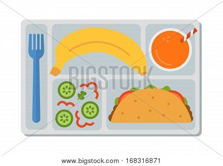 School lunch with tacos, vegetable salad, banana and a glass of orange juice. Flat style. Vector illustration.
