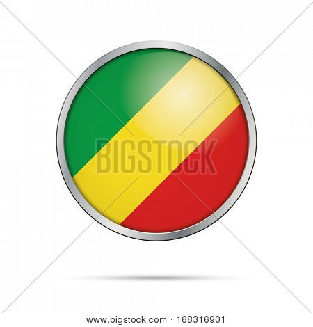 Vector Republic of the Congo flag glass button style with metal frame.