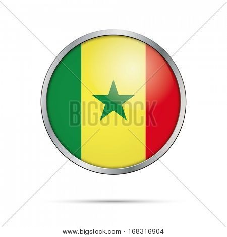 Vector Senegalese flag button. Senegal flag glass button style with metal frame.