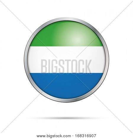 Vector Sierra-Leonean flag button. Sierra Leone flag glass button style with metal frame.