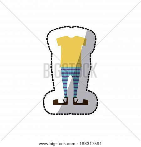 sticker color silhouette with male clothing pijama vector illustration