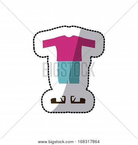 sticker color silhouette with male clothing pijama short vector illustration