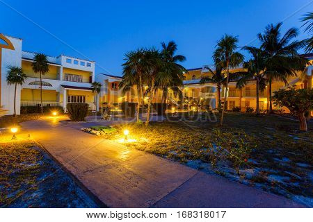 View on hotel at night, Cayo Largo, Cuba