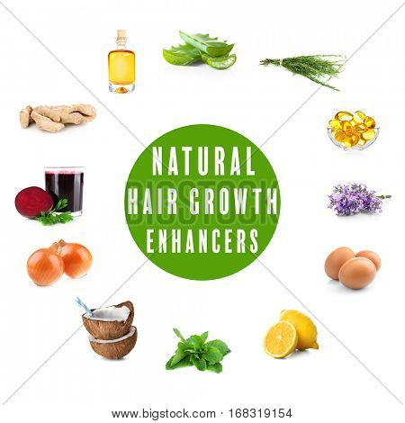 Natural hair growth enhancers on white background. Beauty concept