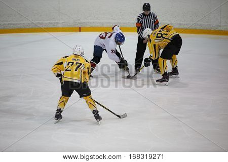 Moscow, Russia - January, 07, 2017: Amateur hockey league LHL-77. Game between hockey team