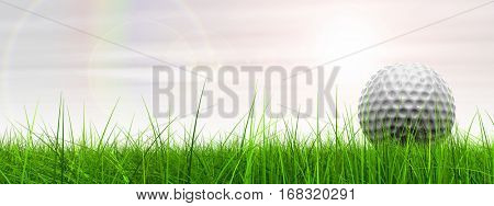 Green, fresh and natural 3D illustration conceptual sport grass over sky background banner with golf ball at horizon for club, business, recreation, summer, competition, play, activity game fun design