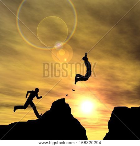 Concept or conceptual young 3D illustration man businessman silhouette jump happy from cliff over  gap sunset or sunrise sky background for freedom, nature, mountain, success, free, joy, health risk