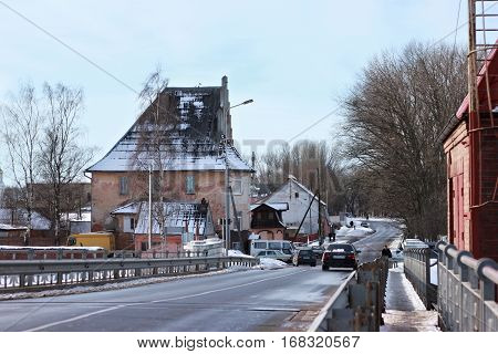 POLESSK, KALININGRAD REGION, RUSSIA - JANUARY 30, 2011: Old german movable bridge known as Eagle (Adler Brucke) through Deima river in the city of Polessk (Labiau). The bridge was built in 1919-1922.