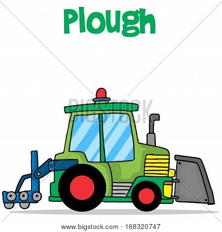 Plough transport cartoon design collection vector illustration