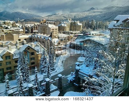 Whistler Olympic Village in winter.  British Columbia. Canada.