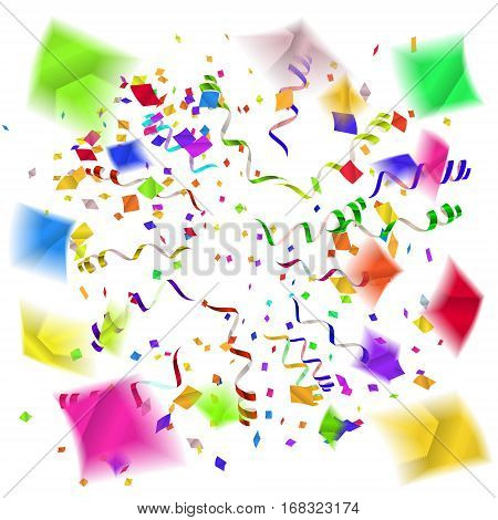 Confetti blast in different directions. Vector illustration